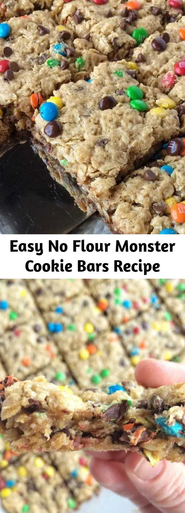 Easy No Flour Monster Cookie Bars Recipe - No flour monster cookie bars are the perfect back-to-school snack! They freeze really well and who can resist these bars loaded with oatmeal, peanut butter, chocolate chips, and m&m's?!