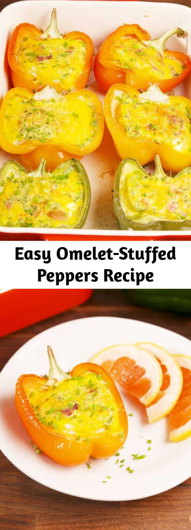 Easy Omelet-Stuffed Peppers Recipe - Omelet stuffed peppers are the keto breakfast you've been dreaming of. #easy #recipes #omelet #lowcarb #keto #ketorecipes #breakfast #brunch #eggs #bellpepper #stuffedpeppers