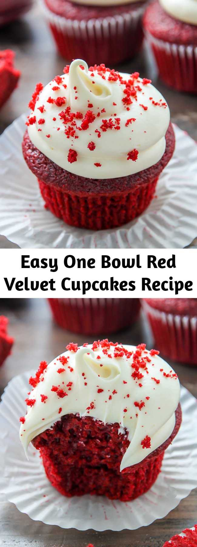 Easy One Bowl Red Velvet Cupcakes Recipe - If you like red velvet, you're going to LOVE these light and fluffy red velvet cupcakes! Classic red velvet cupcakes topped with luscious cream cheese frosting! Made in just one bowl, these are easy enough to whip up any day of the week. They're so delicious!