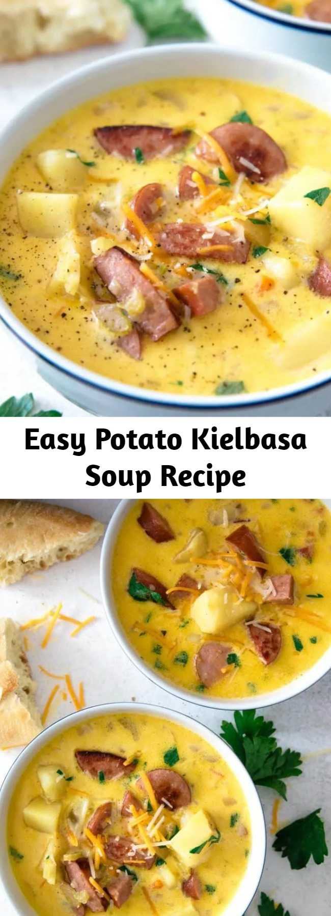 Easy Potato Kielbasa Soup Recipe - This potato kielbasa soup recipe is full of cheese, crispy sausage pieces, and potato chunks! It's a hearty and cheesy soup, perfect for lunch or dinner. Super cheesy!