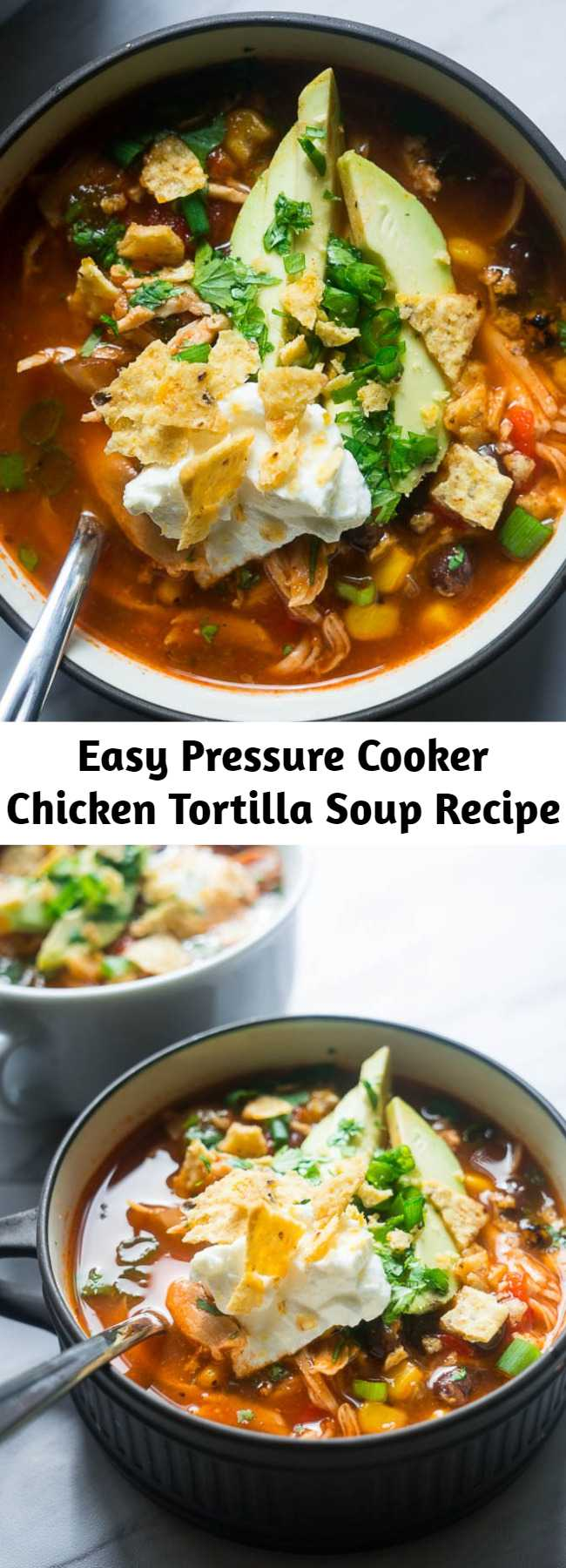 Easy Pressure Cooker Chicken Tortilla Soup Recipe - All in one pot and bursting with flavor, this AhhMazing Pressure Cooker Chicken Tortilla Soup will NOT let you down. If you're overwhelmed by the idea of learning how to use your new pressure cooker, don't be scared!! This is the perfect entry recipe for you and I'm going to venture to say, FOOL-PROOF! You can do it! I have full faith.