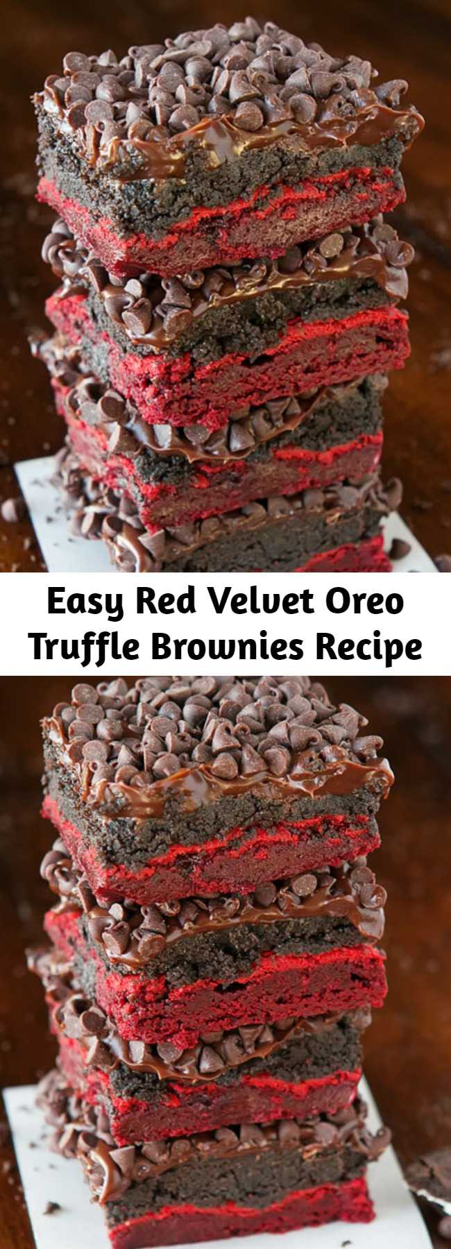 Easy Red Velvet Oreo Truffle Brownies Recipe - These impossibly delicious Red Velvet Oreo Truffle Brownies are so easy to make with red velvet cake mix. Filled with creamy Oreo truffle filling and topped with rich chocolate ganache & chocolate chips, these brownies are ultimate decadence.