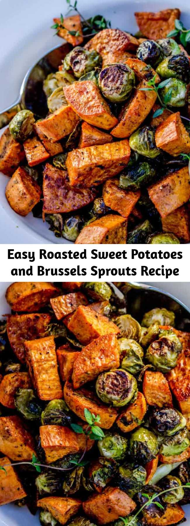 Easy Roasted Sweet Potatoes and Brussels Sprouts Recipe - Roasted vegetables (like these Brussels sprouts and sweet potatoes) are superior in almost every way; it's a fact. But they take up valuable oven space on holidays. Make them ahead of time and reheat!  Save on time and stress.