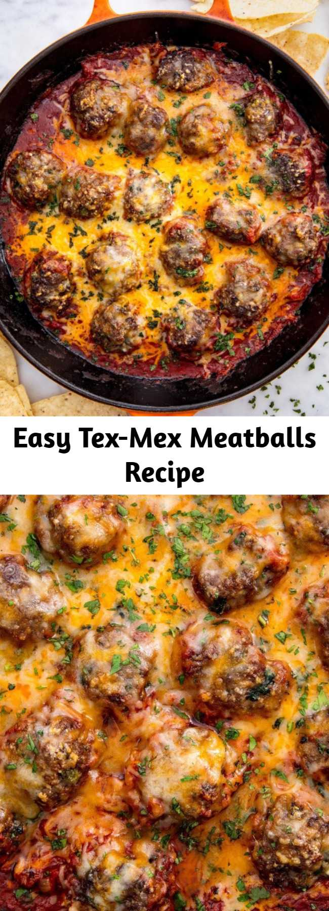 Easy Tex-Mex Meatballs Recipe - Kick up the Italian favorite with chipotle and spices. Pro tip: These meatballs make a killer sub. Throw them on a hero roll with extra sauce and melt some cheddar on top. #italianrecipes #mexicanrecipes #meatball #easyrecipes #lowcarbrecipes