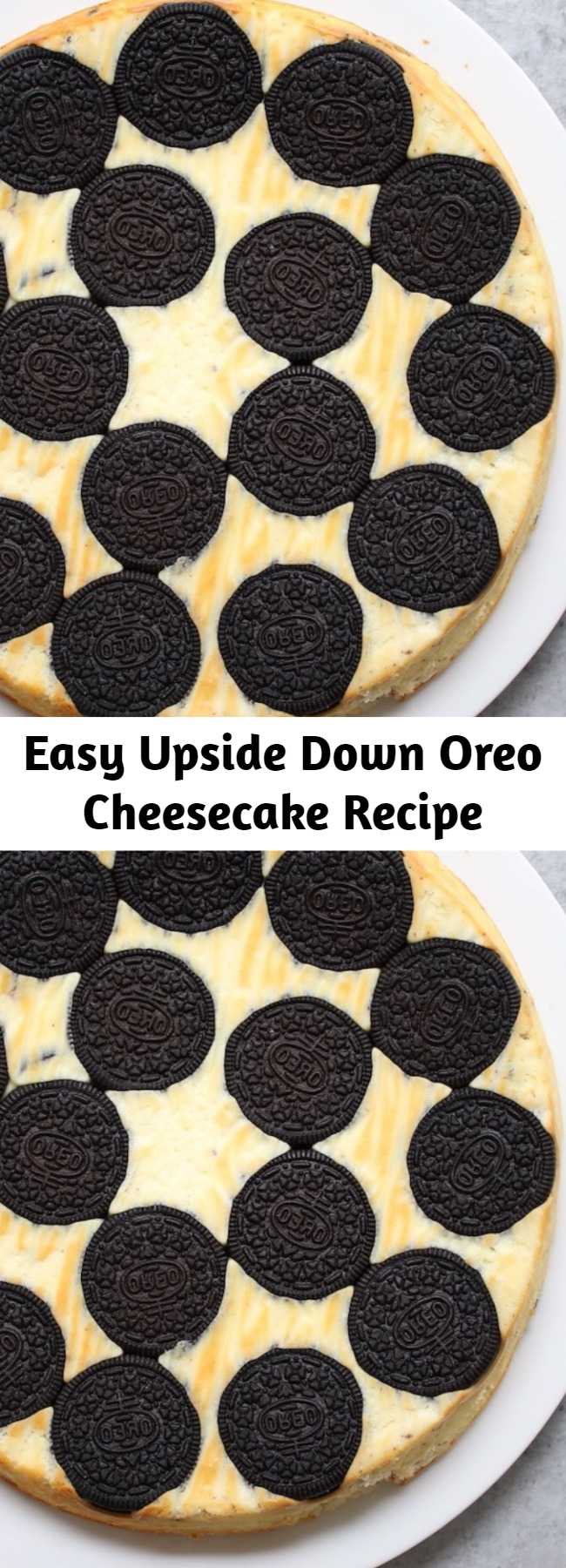 Easy Upside Down Oreo Cheesecake Recipe - Upside Down Oreo Cheesecake is a scrumptious dessert with an elegant presentation that never fails to impress! The cheesecake is easy to make with just 5 simple ingredients - cream cheese, eggs, sugar, yogurt and vanilla - and the bottom of the pan is lined with whole oreo cookies that moisten during baking for a melt-in-your-mouth sensation!