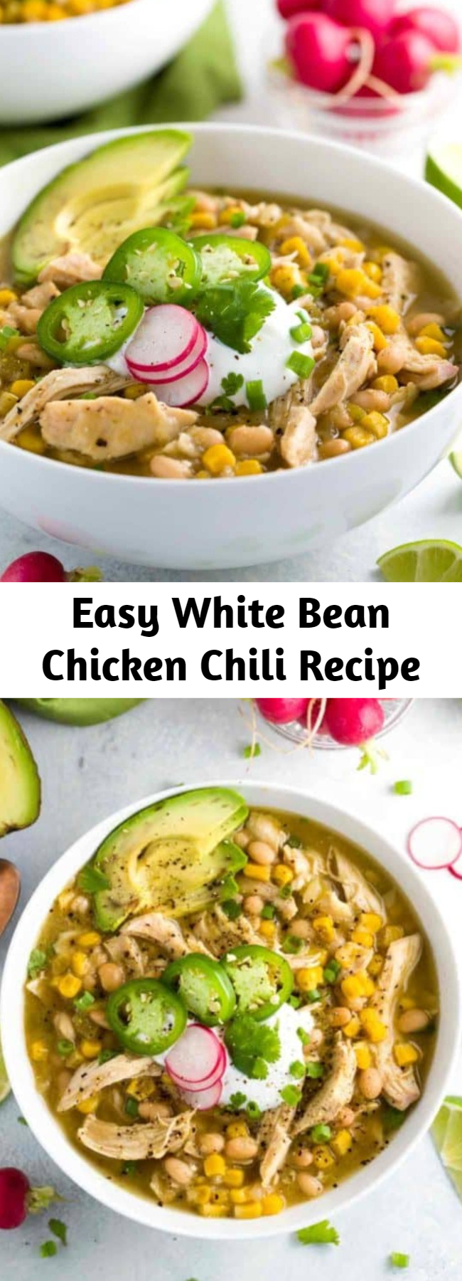 Easy White Bean Chicken Chili Recipe - White bean chicken chili simmered in a crockpot with whole roasted jalapenos, tender beans, corn, and lean chicken breast. This recipe is fantastic if I don't say so myself!