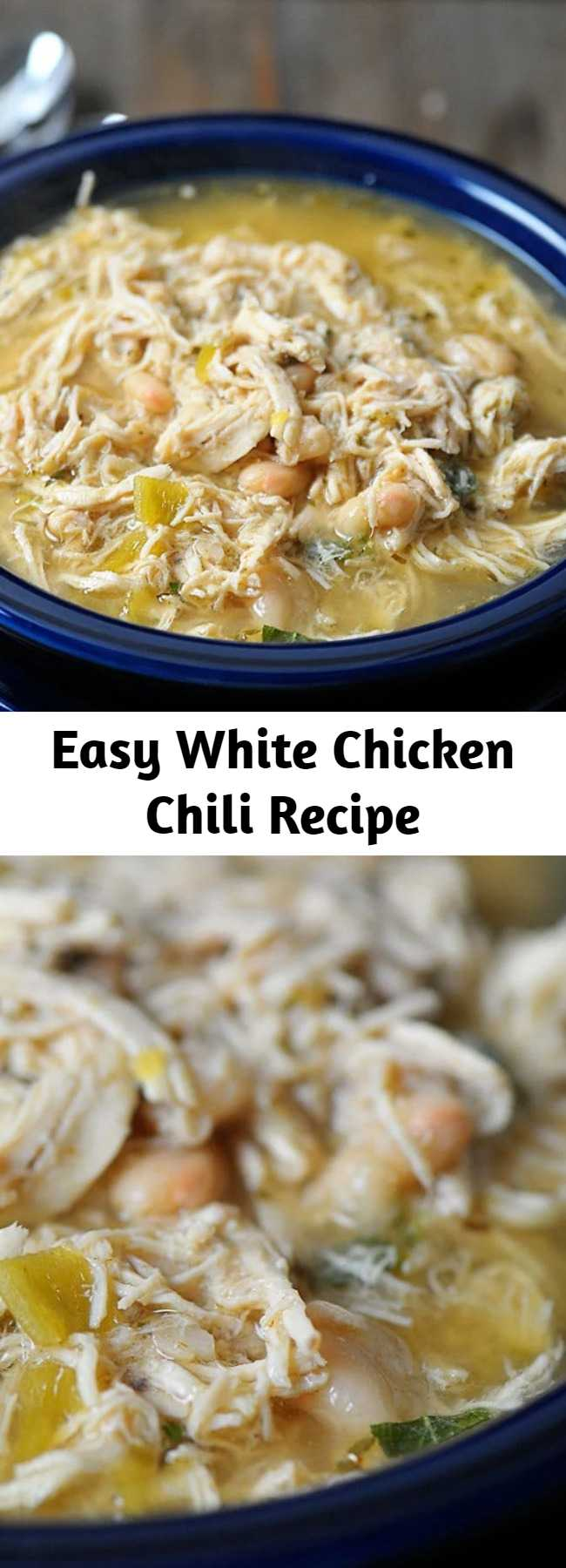 Easy White Chicken Chili Recipe - This White Chicken Chili recipe makes a delicious meal full of spicy chili flavor, chicken and white beans. You'll love the ease of this stovetop, slow cooker and Instant Pot White Chicken Chili!