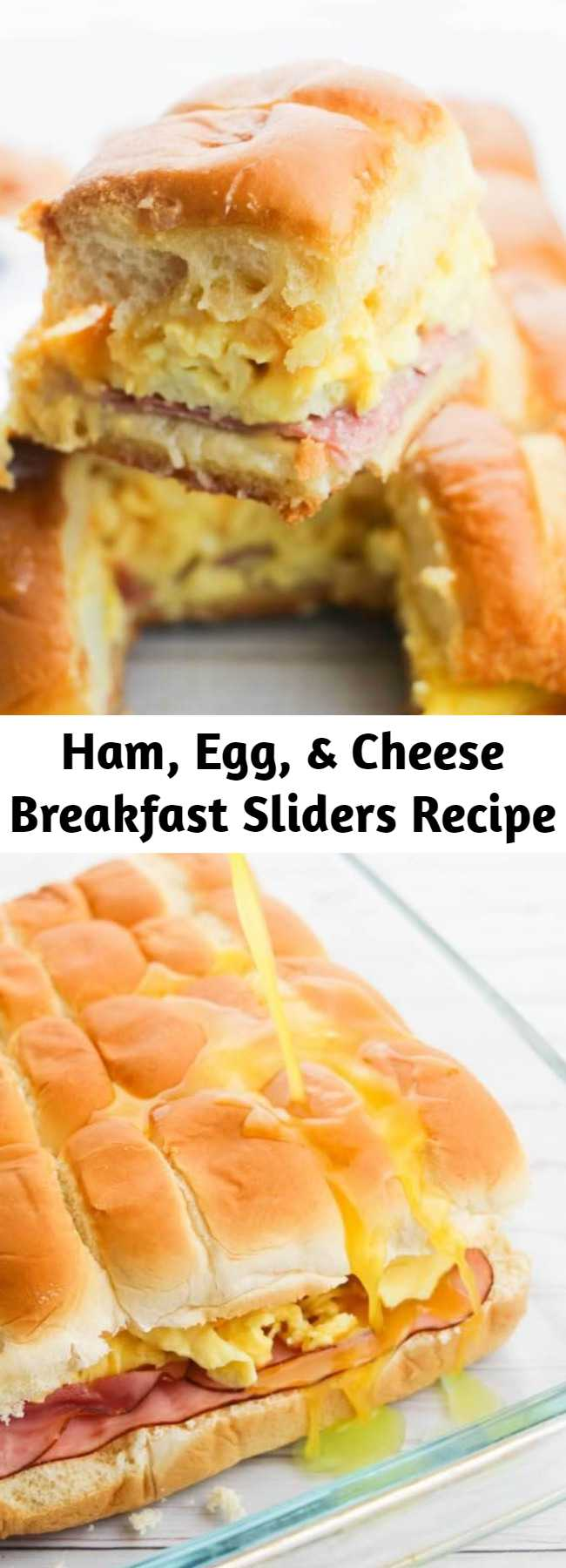 Ham, Egg, & Cheese Breakfast Sliders Recipe - What a way to start the day!! These delicious ham, egg and cheese breakfast sliders served warm out of the oven are sure to brighten up any morning! Perfect for holidays!