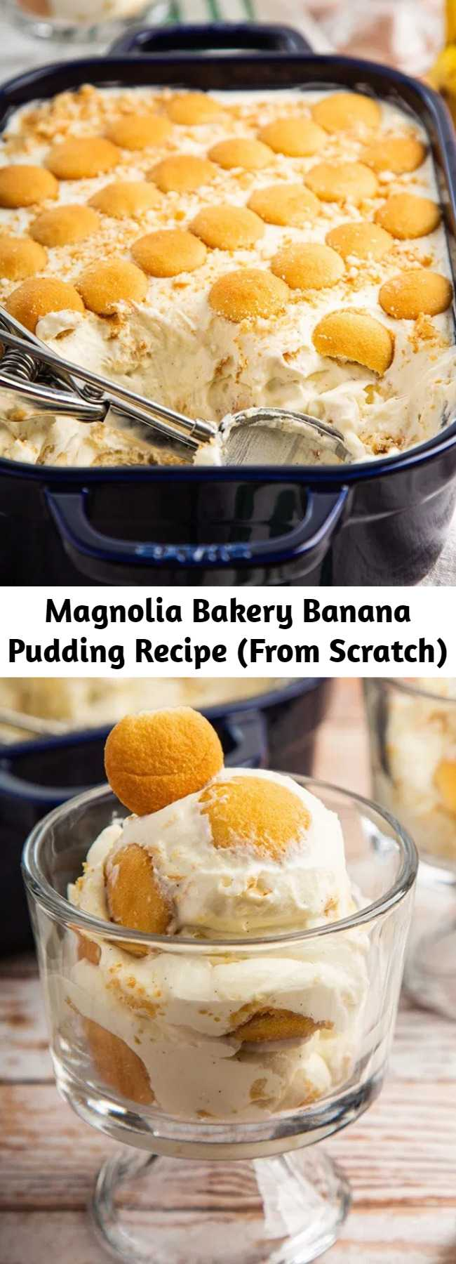 Magnolia Bakery Banana Pudding Recipe (From Scratch) - This Banana Pudding is a copycat recipe of Magnolia Bakery. Unlike regular banana pudding, this one has whipped cream mixed into the pudding. It's fluffy & creamy. And now, you can make that at home from scratch (sorry, no instant pudding mix) with better ingredients, cheaper & more! #magnoliabakery #copycatrecipe #banana #pudding #bananapudding #partyfood #dessert #dessertrecipe