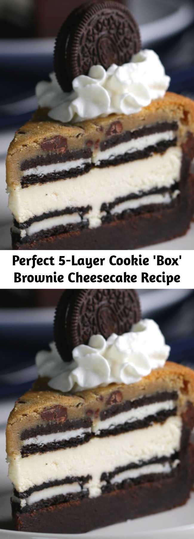 Perfect 5-Layer Cookie 'Box' Brownie Cheesecake Recipe - Tastes amazing!
