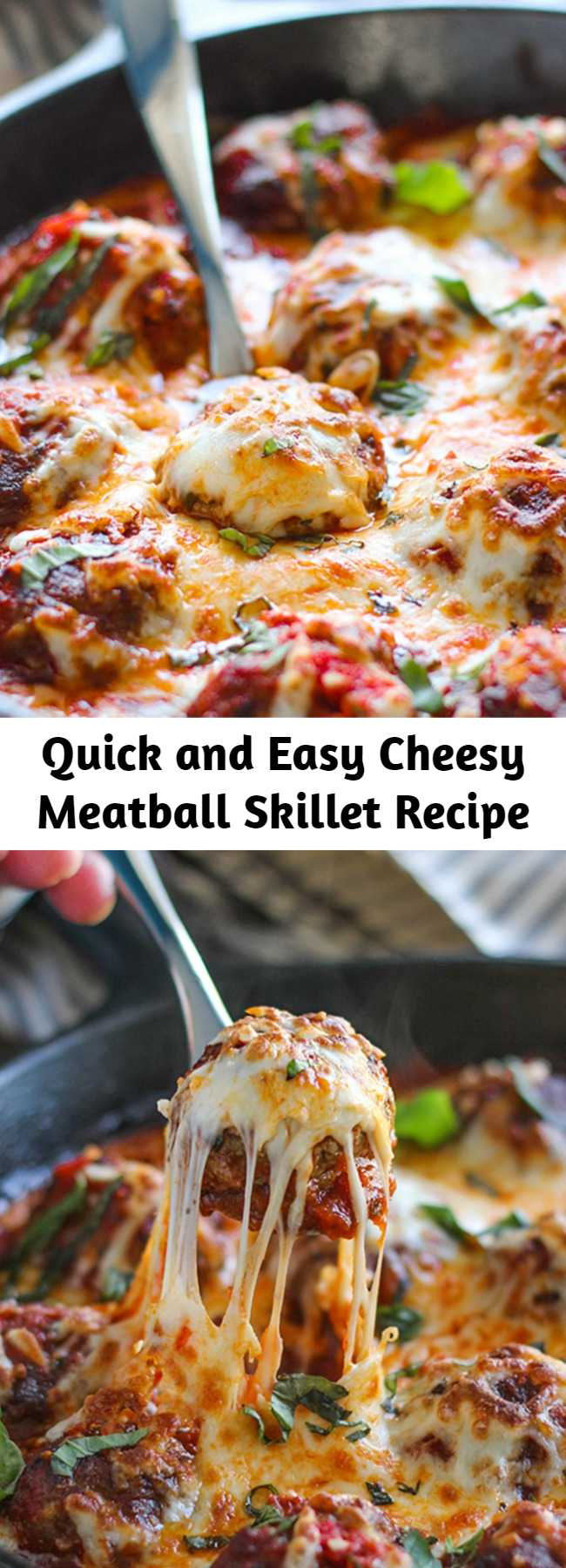 Quick and Easy Cheesy Meatball Skillet Recipe - This cheesy meatball skillet has so many ways to be enjoyed! Pop them in a sub or mix them with pasta, or have them with some bread!