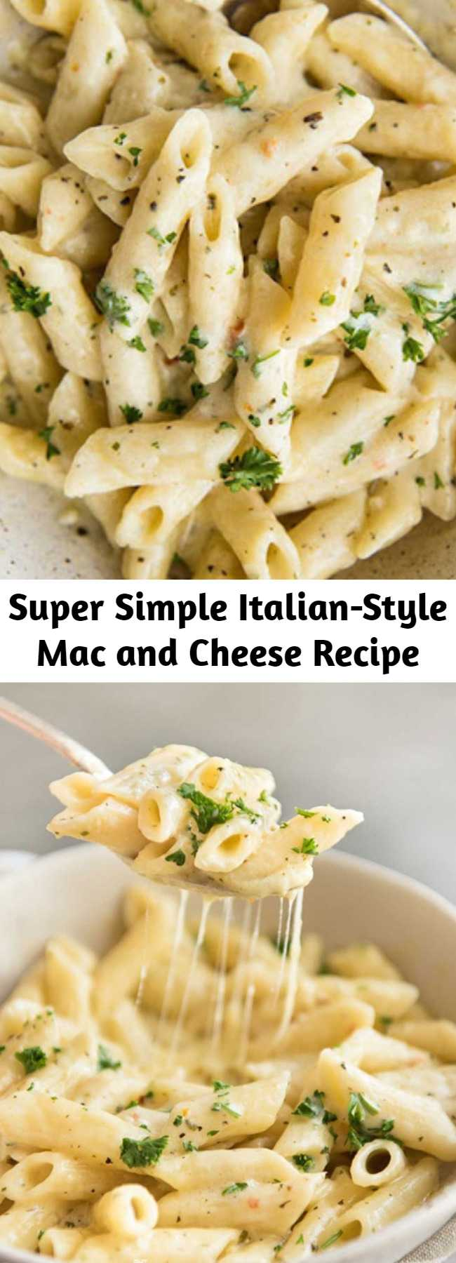 Super Simple Italian-Style Mac and Cheese Recipe - Super Simple Mac & Cheese Italian Style is a go to recipe around here. With just 7 ingredients and 15 minutes you can have this fantastic dinner on the table. It is the ultimate left-over and weeknight dinner helper. #MacAndCheese #SimpleDinner