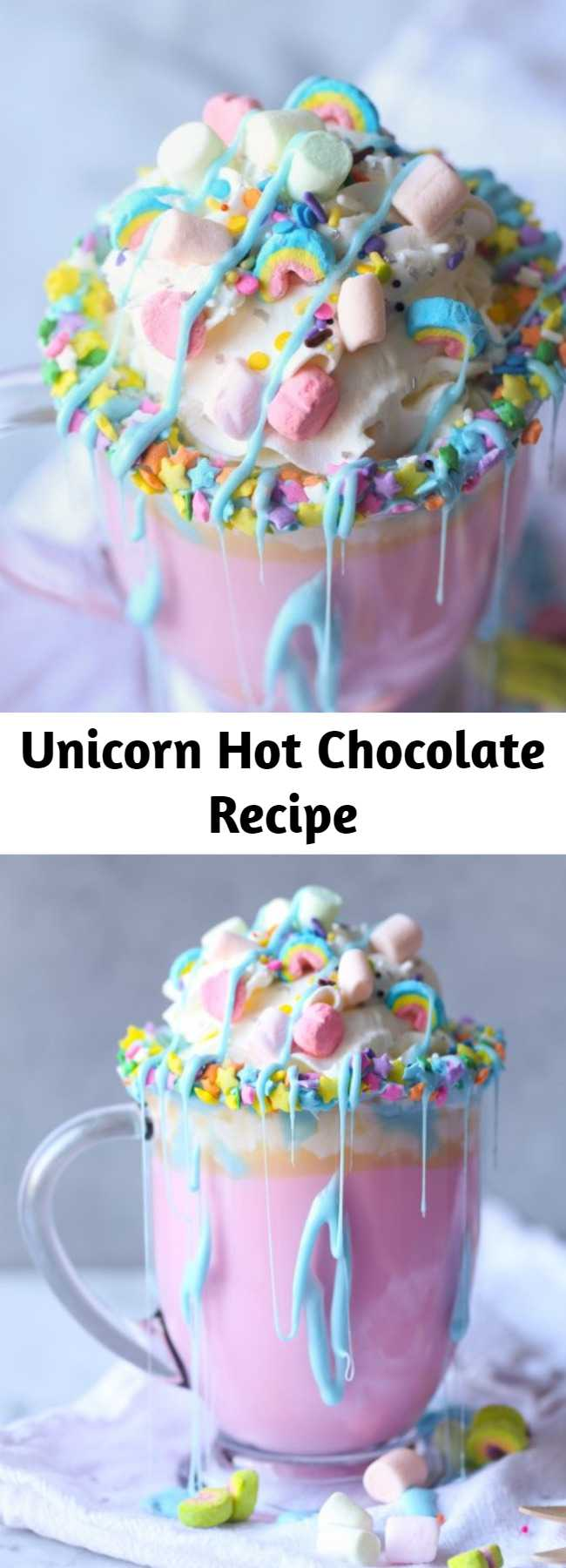 Unicorn Hot Chocolate Recipe - A magical pastel rainbow of color, fluffy mini marshmallows and a warm and creamy white chocolate make this Unicorn Hot Chocolate the stuff of little girls' dreams.