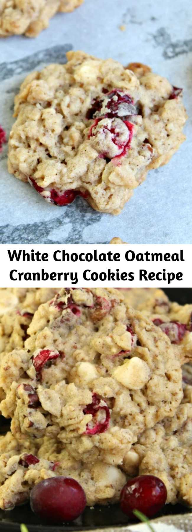 White Chocolate Oatmeal Cranberry Cookies Recipe - Oatmeal Cranberry Cookies with fresh cranberries, oats, white chocolate chips and pecans. A delicious and simple holiday cookie recipe to add to your baking list that everyone will absolutely Love!