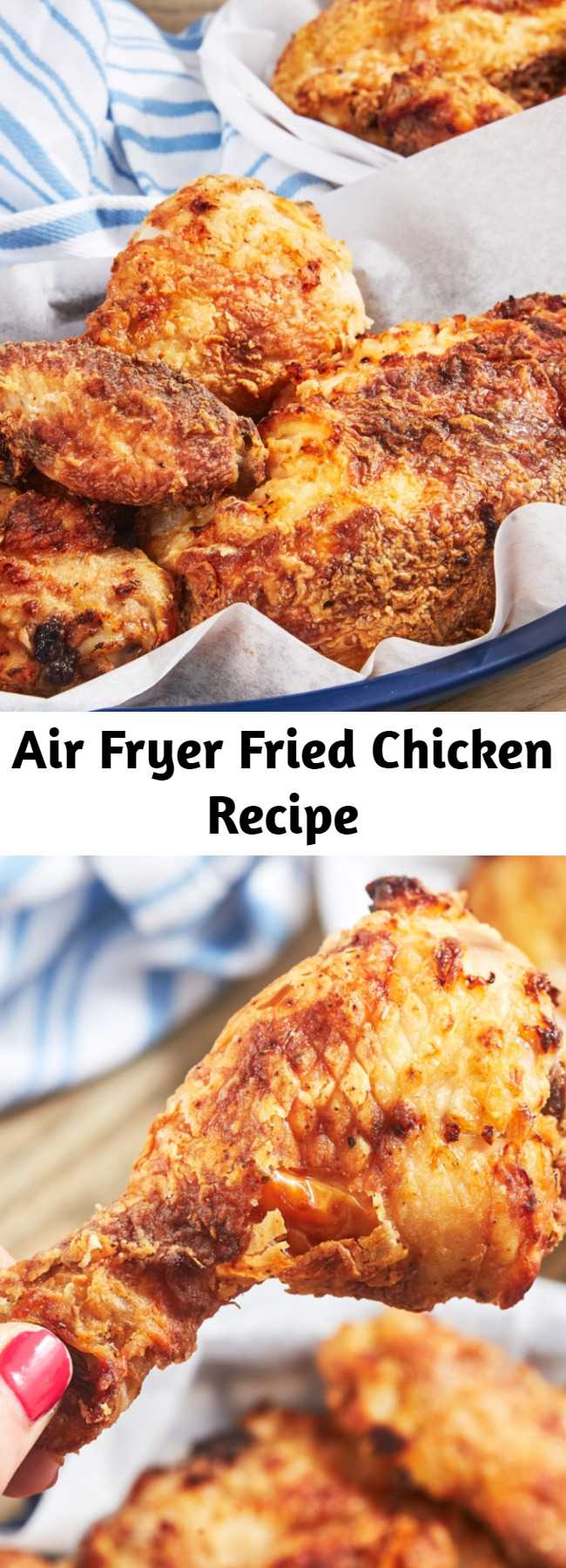 Air Fryer Fried Chicken Recipe - Imagine the best fried chicken you've ever had. Now imagine if it wasn't even fried. Crazy, right? Not with this easy air-fryer fried chicken recipe! The air fryer works some kind of magic on the chicken, and it crisps up into perfectly crunchy chicken as if it had been deep-fried. That buttermilk marinade makes the chicken so tender and juicy and gives it just the right amount of heat. It might just be our favorite chicken recipe ever.