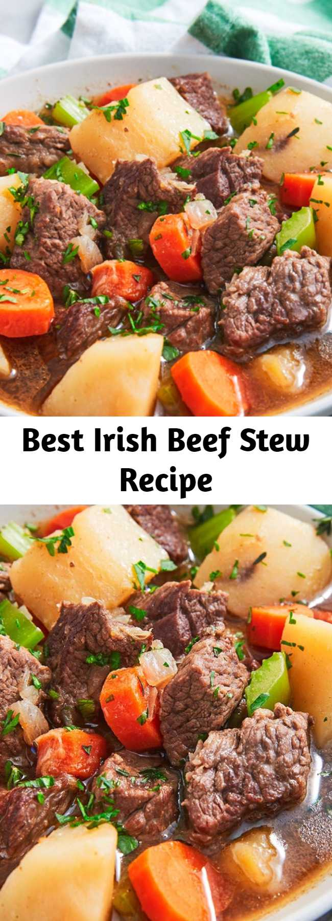 Best Irish Beef Stew Recipe - Traditionally, an Irish stew (aka Guinness Stew) is made with lamb, which you can totally do. We opted for beef chuck for simplicity and familiarity, but we think the Guinness and potatoes still qualify the stew as Irish. Whatever cut of meat you choose, this stew is absolutely delicious. Not too heavy, but still extremely filling.