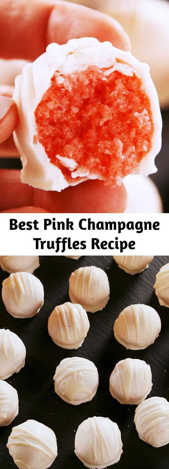 Best Pink Champagne Truffles Recipe - These pretty truffles start with the coolest cake mix hack. You whisk champagne into the batter. Don't worry, not all the booze bakes off—there's also a little bubbly in the frosting.