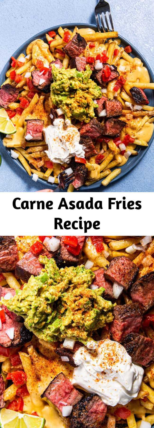 Carne Asada Fries Recipe - These super decadent fries are Tex-Mex in it's truest form. Perfect for watch parties, game-day celebrations, and serious steak cravings.