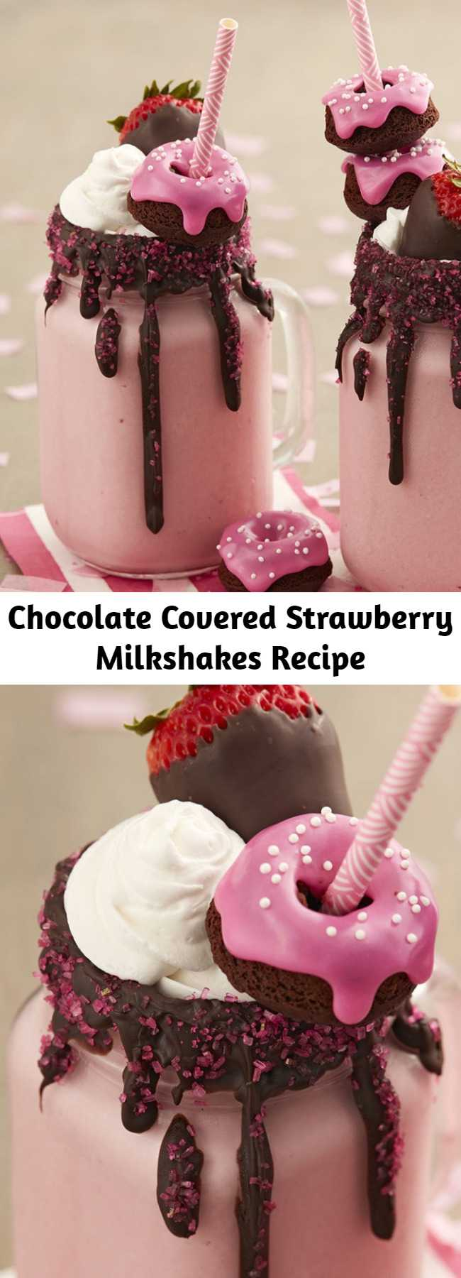 Chocolate Covered Strawberry Milkshakes Recipe - Get the goodness of chocolate covered strawberries in a glass! Dark Cocoa Candy Melts blend perfectly with strawberry ice cream. Top it all off with sparkling sugar, a mini chocolate doughnut and a chocolate covered strawberry, of course.
