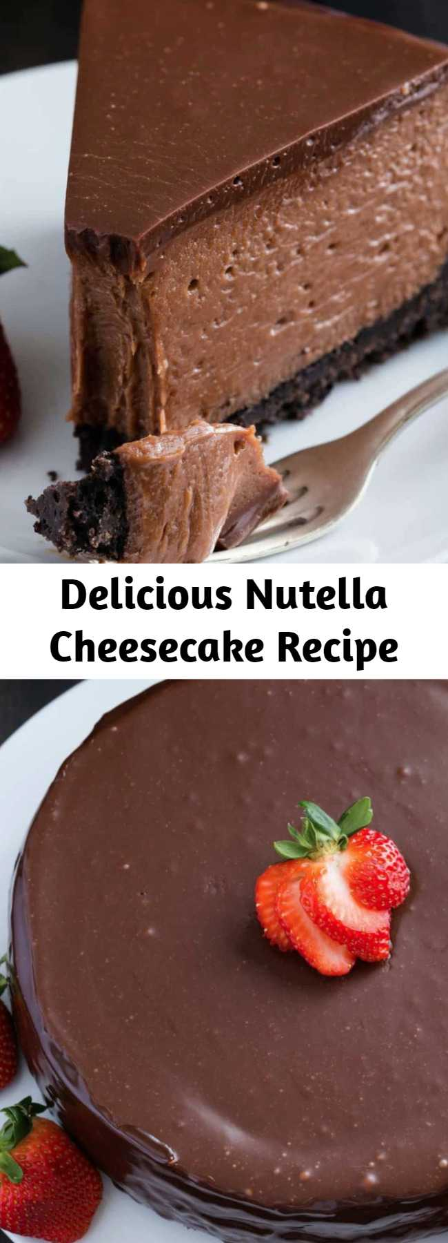 Delicious Nutella Cheesecake Recipe - This Nutella Cheesecake tastes like it came from a gourmet bakery. It's decadent, creamy, and full of Nutella flavor. #nutella #cheesecake #oreocrust