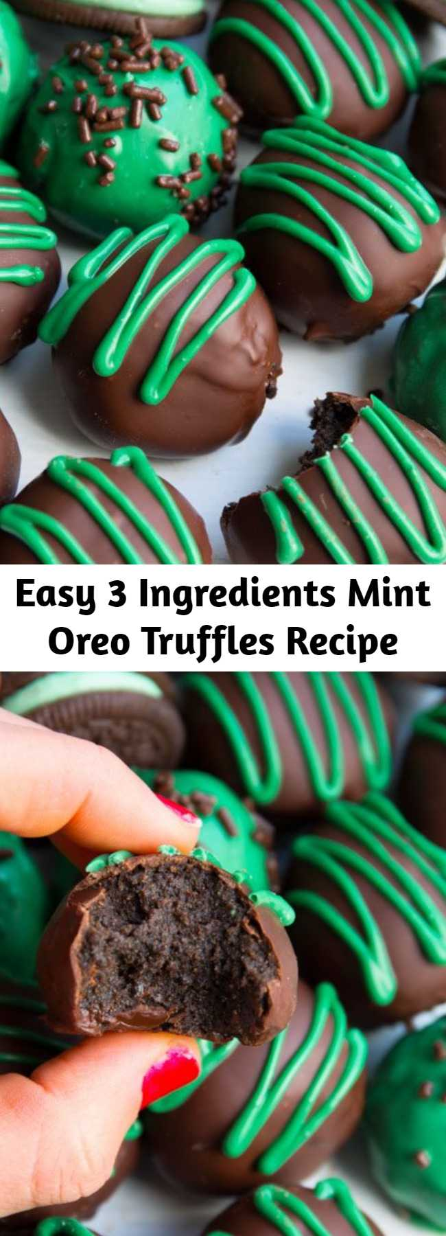 Easy 3 Ingredients Mint Oreo Truffles Recipe - Only 3 ingredients needed to make these mint chocolate truffles. They taste like chocolate-covered Oreo cheesecakes!
