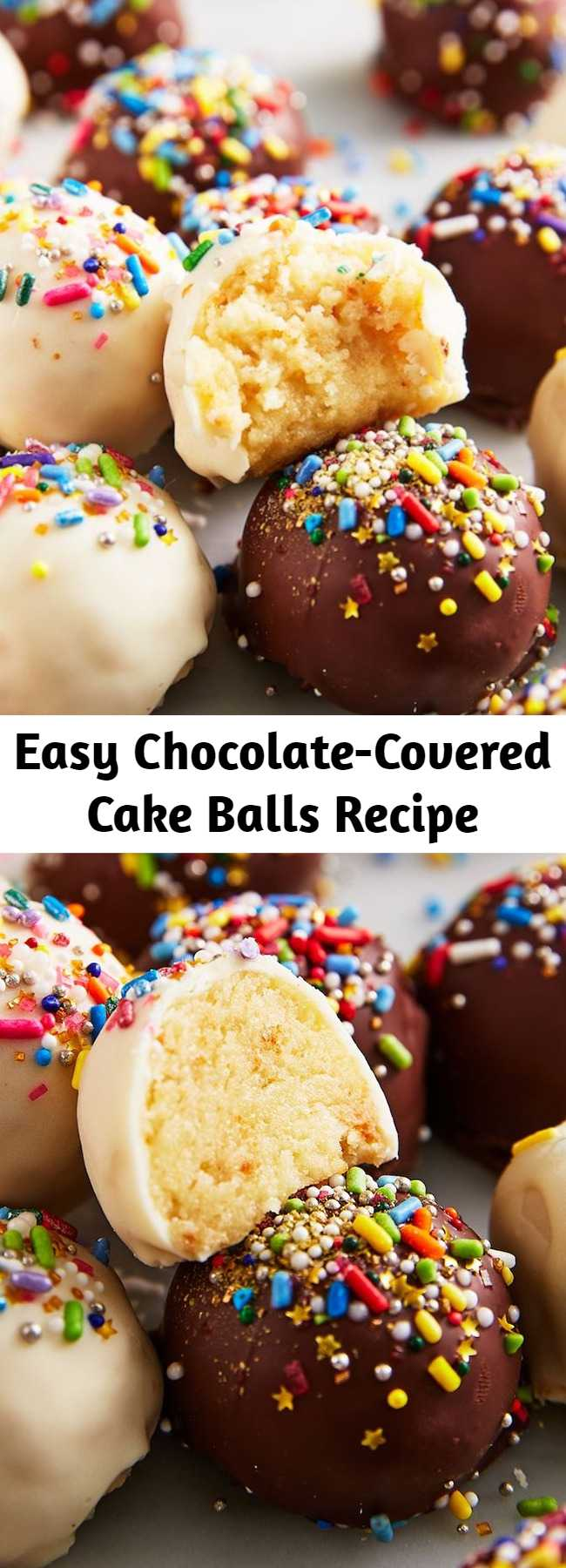 Easy Chocolate-Covered Cake Balls Recipe - You can use any type of cake for this recipe. But truthfully, we like starting with boxed mix. With the homemade buttercream, chocolate coating, and festive sprinkles, no one will notice or care.