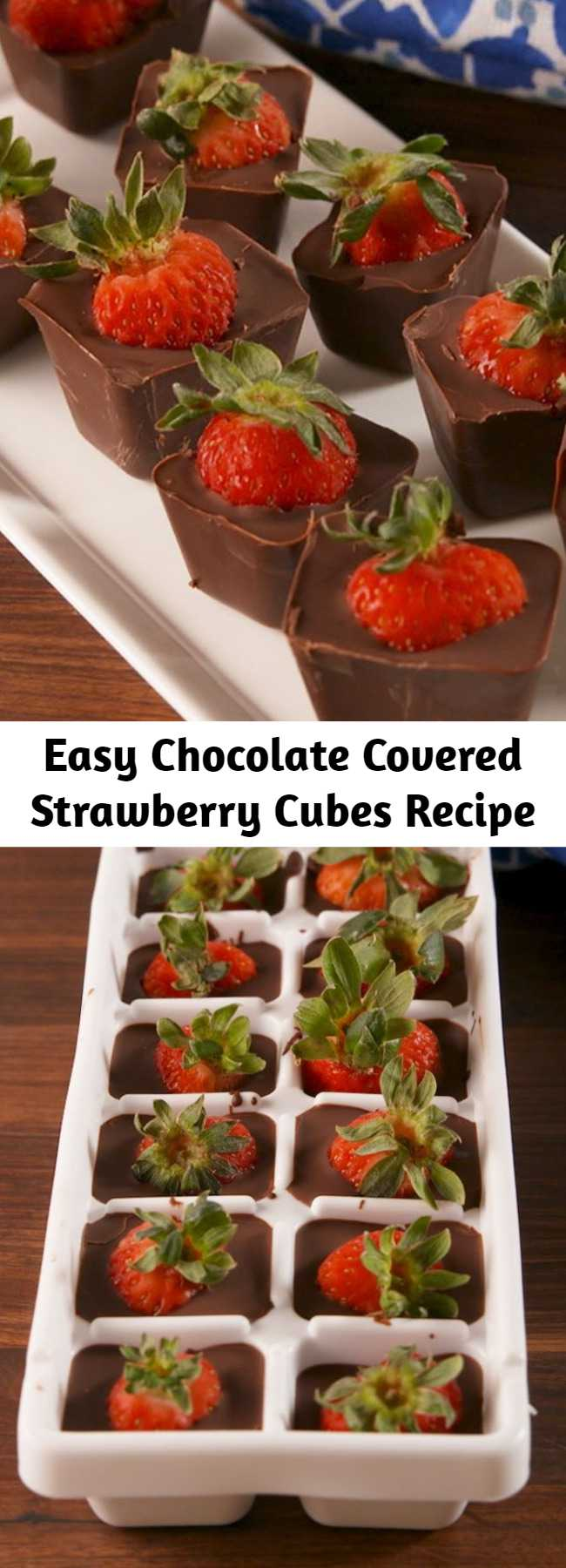 Easy Chocolate Covered Strawberry Cubes Recipe - This ice cube tray hack is the easiest way to make chocolate covered strawberries. #recipe #easyrecipe #chocolate #strawberry #strawberries #valentinesday #valentine #hack #lifehack #dessert #sweet #coconutoil