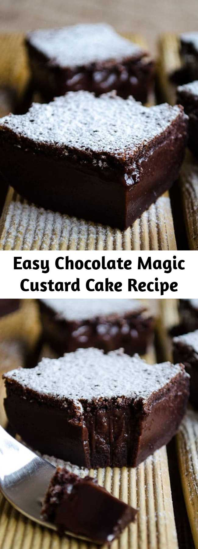 Easy Chocolate Magic Custard Cake Recipe - Chocolate Magic Custard Cake will blow your mind with its look and taste. One cake batter results in 3-layered cake. Don't worry about the runny batter, it will bake up perfectly! #cake #chocolate #custard #dessert