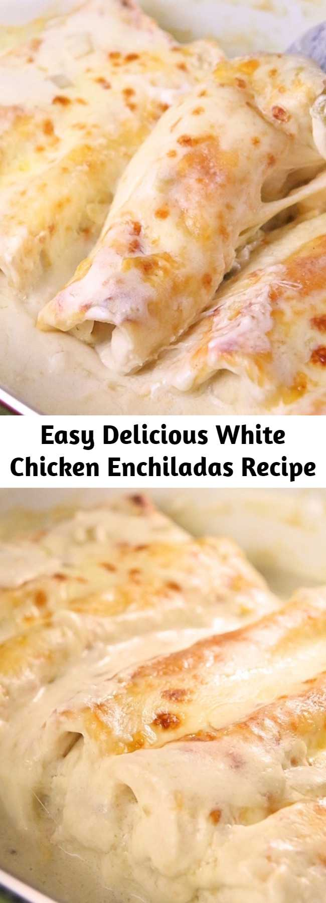 Easy Delicious White Chicken Enchiladas Recipe - This White Chicken Enchiladas Recipe is EASY and delicious! Sour cream and green chilies make the creamiest sauce. I guess I was drawn by the simplicity of the recipe and of course how creamy and yummy it looked.