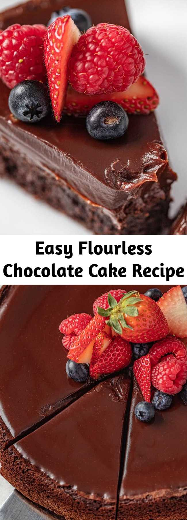 Easy Flourless Chocolate Cake Recipe - Flourless Chocolate Cake is rich, dense, and fudgy and incredibly easy to make. It's a classic chocolate cake recipe that also just so happens to be gluten-free.