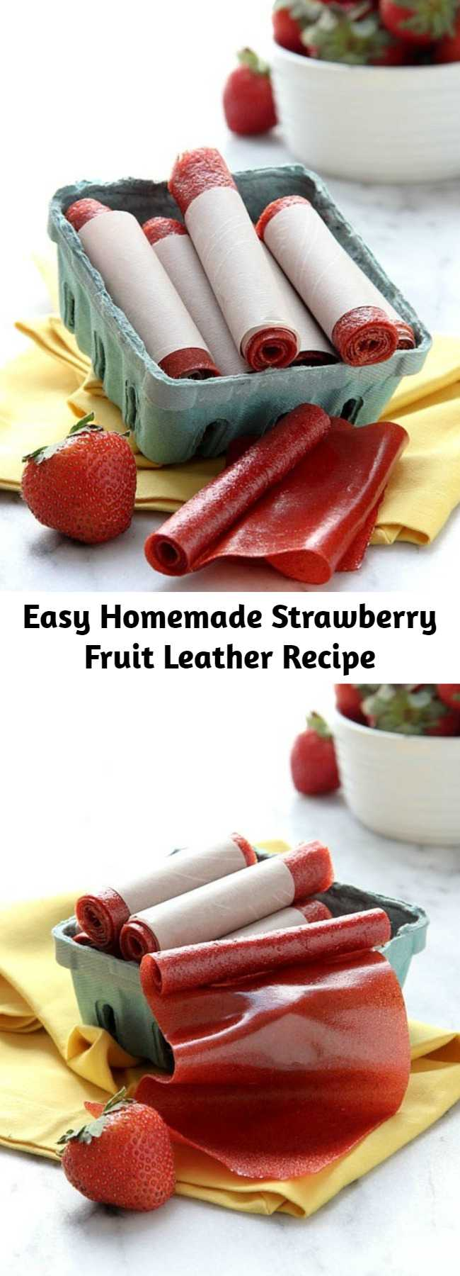Easy Homemade Strawberry Fruit Leather Recipe - Easy homemade strawberry fruit leather, requiring only a few simple ingredients and an oven! Tastes just like your favorite fruit roll-up, only better.