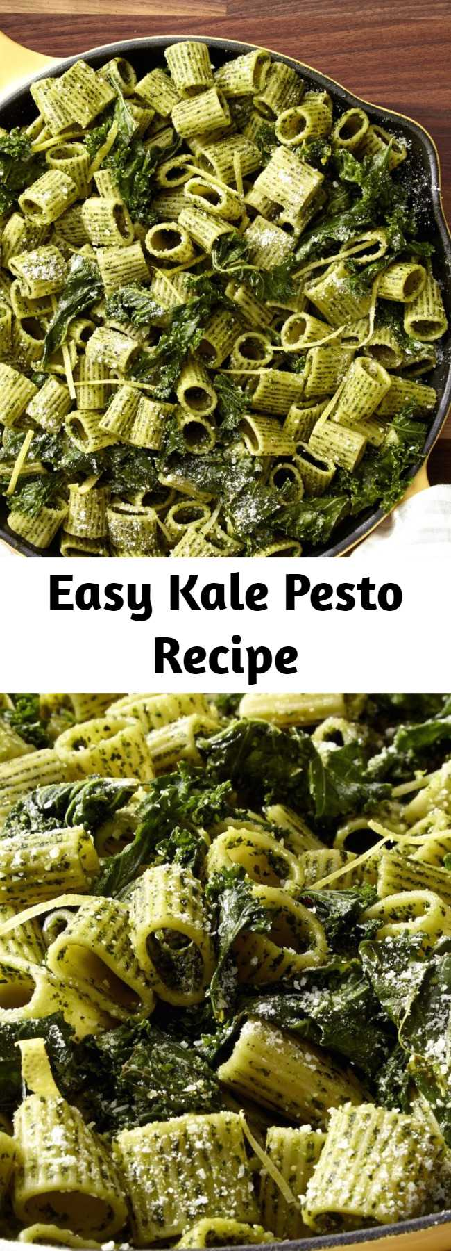 Easy Kale Pesto Recipe - Looking for an easy pesto recipe? This Kale Pesto recipe is the best. If you're a kale-aholic, this dark-green pesto will become an instant fave. This recipe makes enough sauce for a pound of pasta!