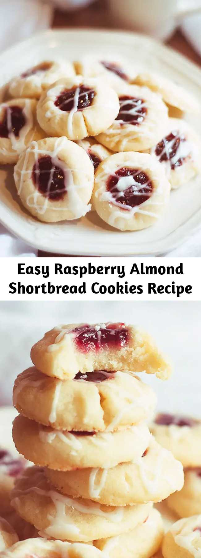 Easy Raspberry Almond Shortbread Cookies Recipe - I've been so excited about posting this raspberry almond shortbread cookies recipe because it's hands-down my favorite recipe of all time. It's so very simple, but so amazingly good. These are just my kind of cookies, and they hold the spot as my favorite cookies to make during the holidays.