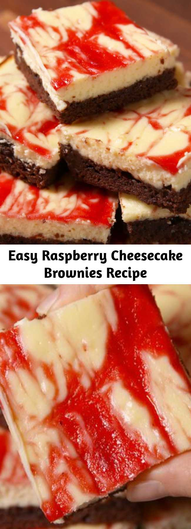 Easy Raspberry Cheesecake Brownies Recipe - Be a dessert superhero and make this easy recipe for raspberry cheesecake brownies.
