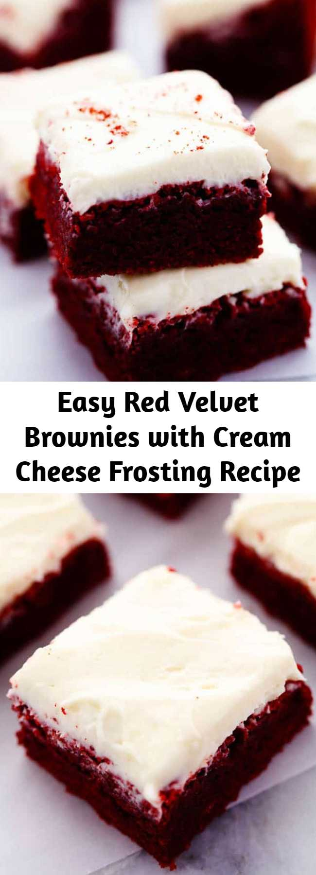 Easy Red Velvet Brownies with Cream Cheese Frosting Recipe - These red velvet brownies are seriously the perfect brownie recipe! Perfectly moist and chewy with the bright red color. The cream cheese frosting is the perfect finishing touch! These are AMAZING!