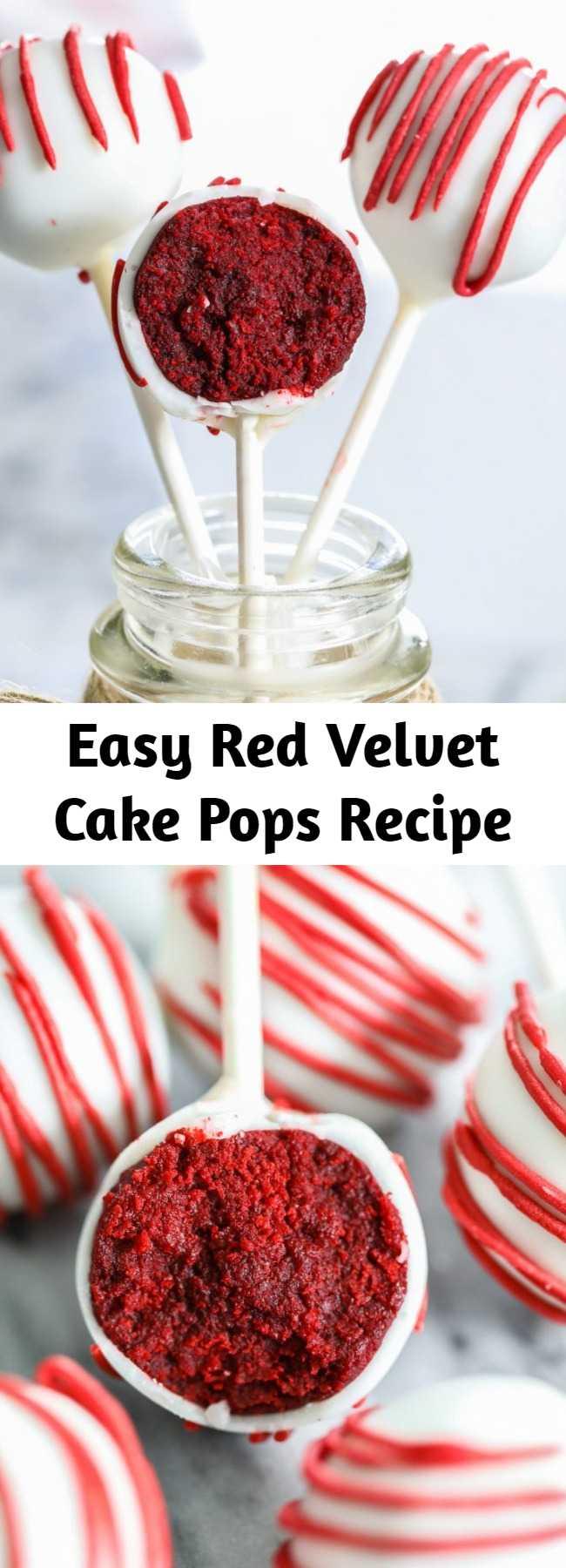 Easy Red Velvet Cake Pops Recipe - The easiest and fuss-free red velvet cake pops recipe! These delicious treats will be the highlight of your next party or celebration! #redvelvet #cakepops #easycakepops #cakepoprecipe #redvelvetcakepops
