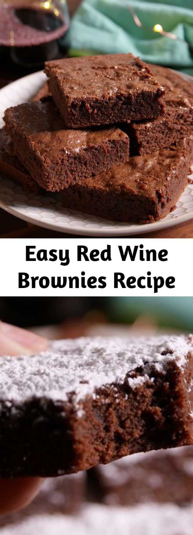 Easy Red Wine Brownies Recipe - Taking wine-and-chocolate night to a whole new fudgy level.