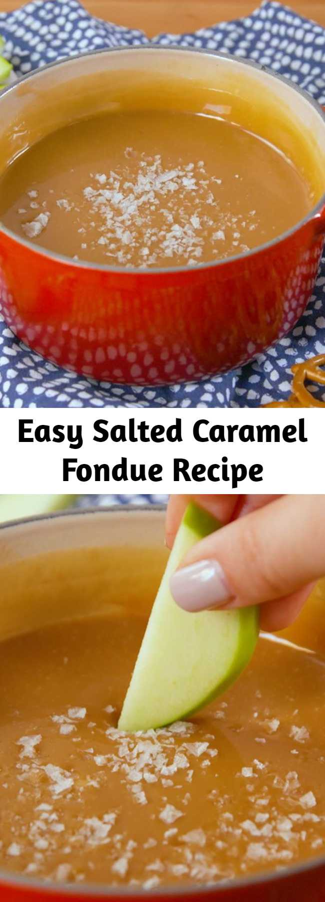 """Easy Salted Caramel Fondue Recipe - """"Fondue"""" sounds fancy and French, but it can be super simple to whip together. Like make it, from beginning to end, in less than 20 minutes easy. At least, if we're talking about caramel fondue — our new favorite party trick."""