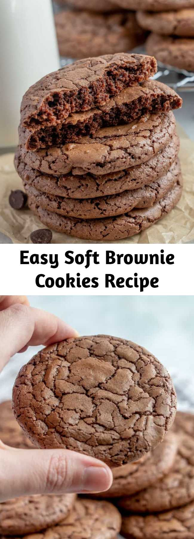 Easy Soft Brownie Cookies Recipe - Easy, delicious and soft, these Brownie Cookies are one of the most perfect additions to your dessert menu! Chocolatey, chewy and taste just like a brownie. #cookies #chocolate #brownies #desserts #baking #easyrecipe #browniecookies #sweets