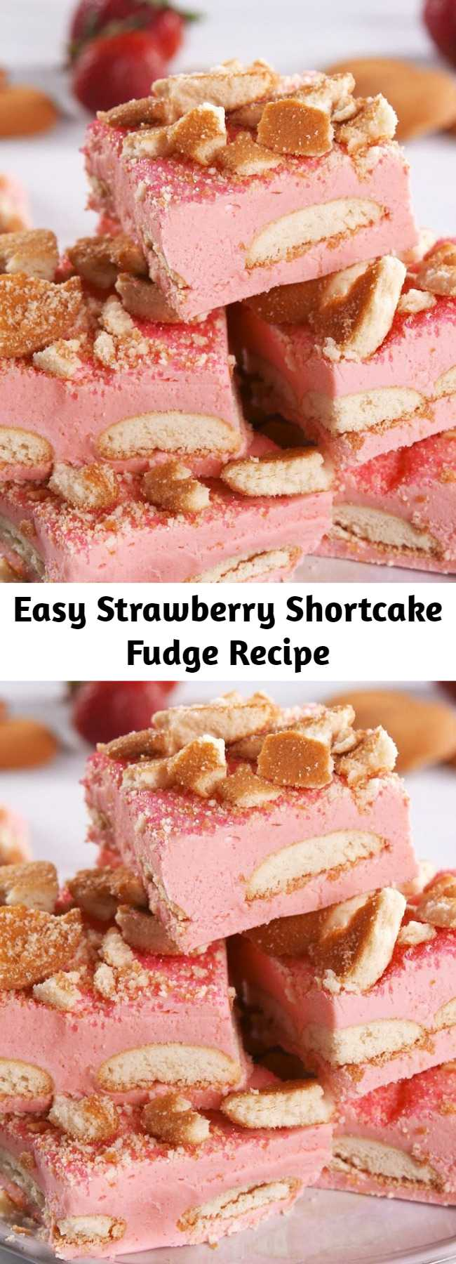 Easy Strawberry Shortcake Fudge Recipe - Strawberry Shortcake Fudge is a delight to behold and to eat! How do you make fudge taste like strawberry shortcake? Easy! Simply stir in some Jell-O mix. It may sound cray, but it works wonderfully.