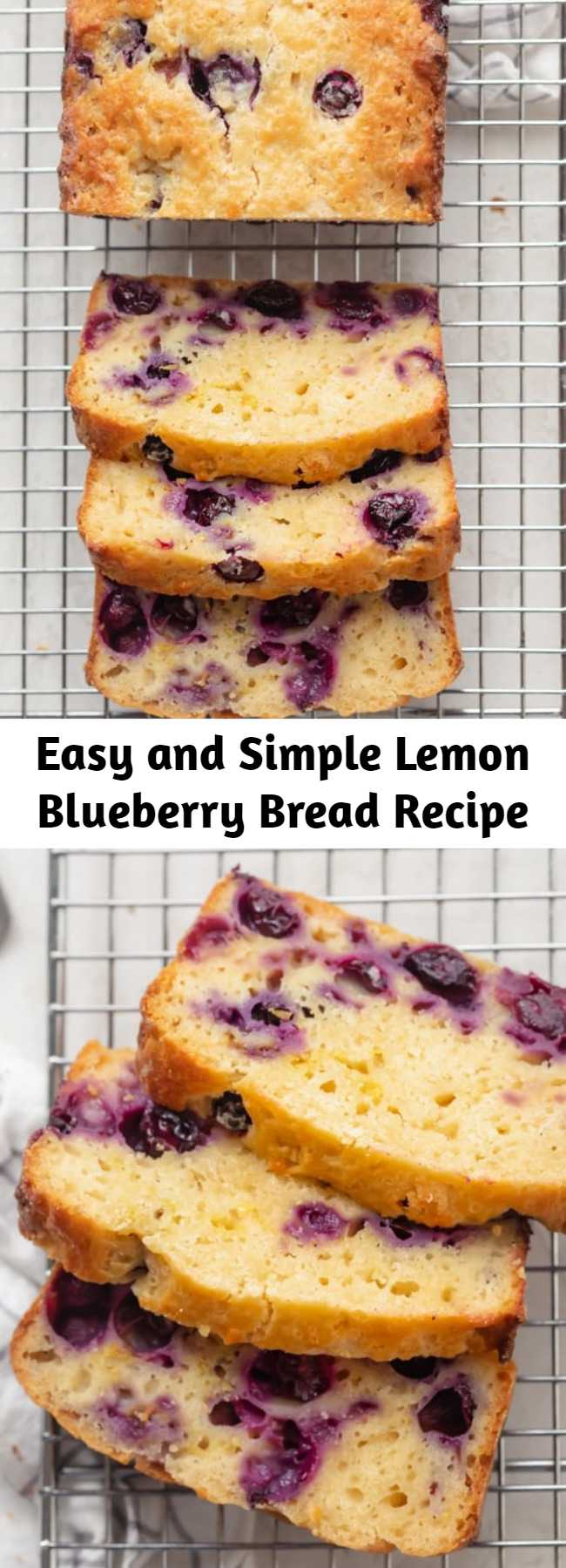 Easy and Simple Lemon Blueberry Bread Recipe - Welcome spring with this fresh and light Lemon Blueberry Bread. It's easy to make with simple ingredients, and comes out moist, fluffy & packed with flavor. This is a soft and moist quick bread that is packed with flavor, and super simple to make. #easybaking ##springbaking #springrecipes
