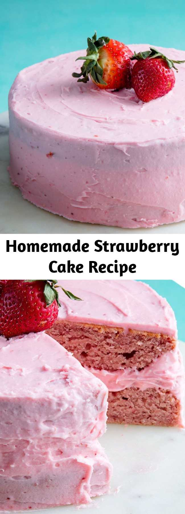 Homemade Strawberry Cake Recipe - Strawberry cake is sweet and tart and unmatched to other cakes. The cream cheese frosting is what really makes this cake. Making strawberry compote is easier than you'd think. All you're doing is cooking down the fresh berries with sugar and lemon juice. We used it in the batter and frosting to make sure that the cake has the best strawberry flavor possible. The compote will make a little more than you need, but you can use leftover just as you would jam!