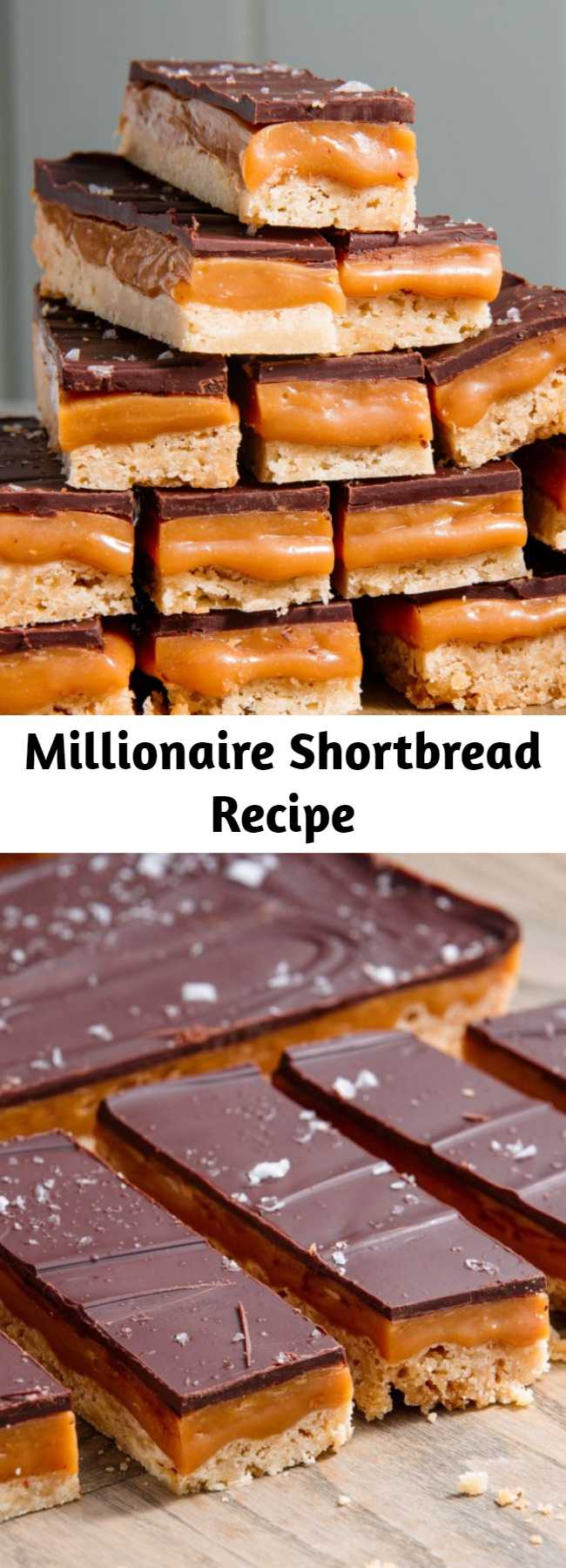 Millionaire Shortbread Recipe - It may look impressive (and daunting), but this classic Millionaire Shortbread recipe is insanely easy to bake at home. It starts with a perfect and simple buttery shortbread base. On top: a 2-ingredient caramel that starts with pre-made candies. To top it all off, a layer of decadent chocolate sprinkled with flaky sea salt.