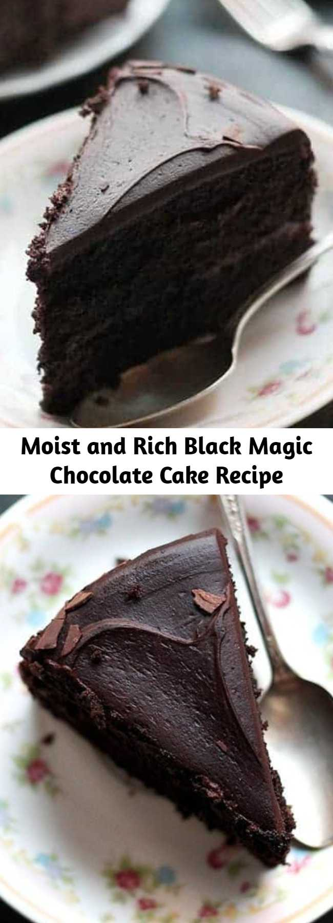 Moist and Rich Black Magic Chocolate Cake Recipe - This is my go-to chocolate cake recipe. Moist, rich, and delicious dark chocolate cake that's perfect for the Holidays, or any other occasion! Perfect for Valentine's Day!
