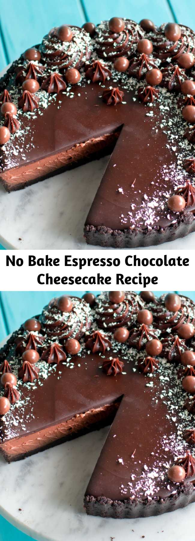 No Bake Espresso Chocolate Cheesecake Recipe - Espresso your love for cheesecake, chocolate & coffee, all in one dessert. This no-bake espresso chocolate cheesecake is the perfect afternoon pick-me-up.