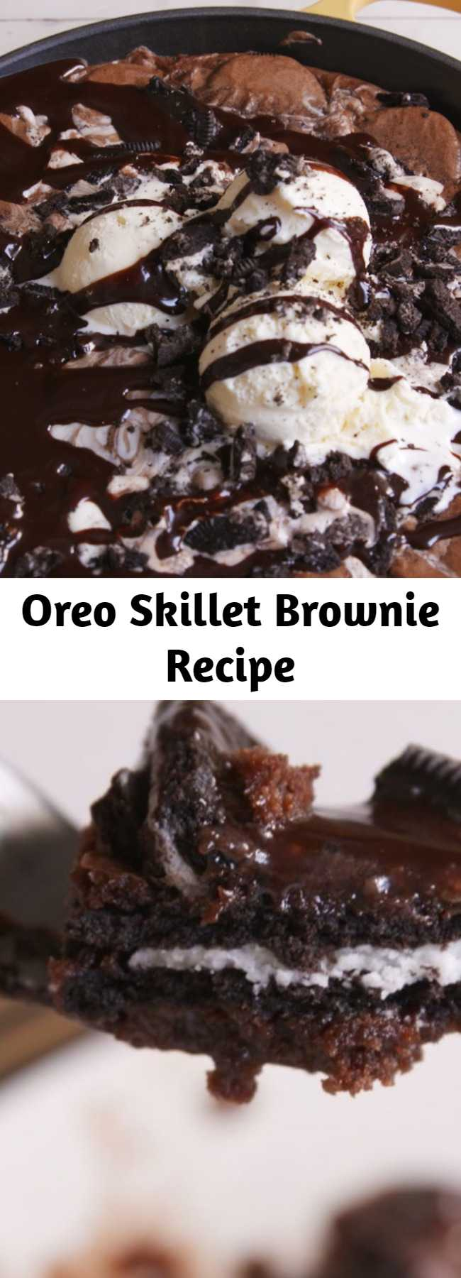 Oreo Skillet Brownie Recipe - Looking for an over-the-top Oreo brownie recipe? This Oreo Stuffed Skillet Brownie is the bomb. Only true Oreo lovers need apply.