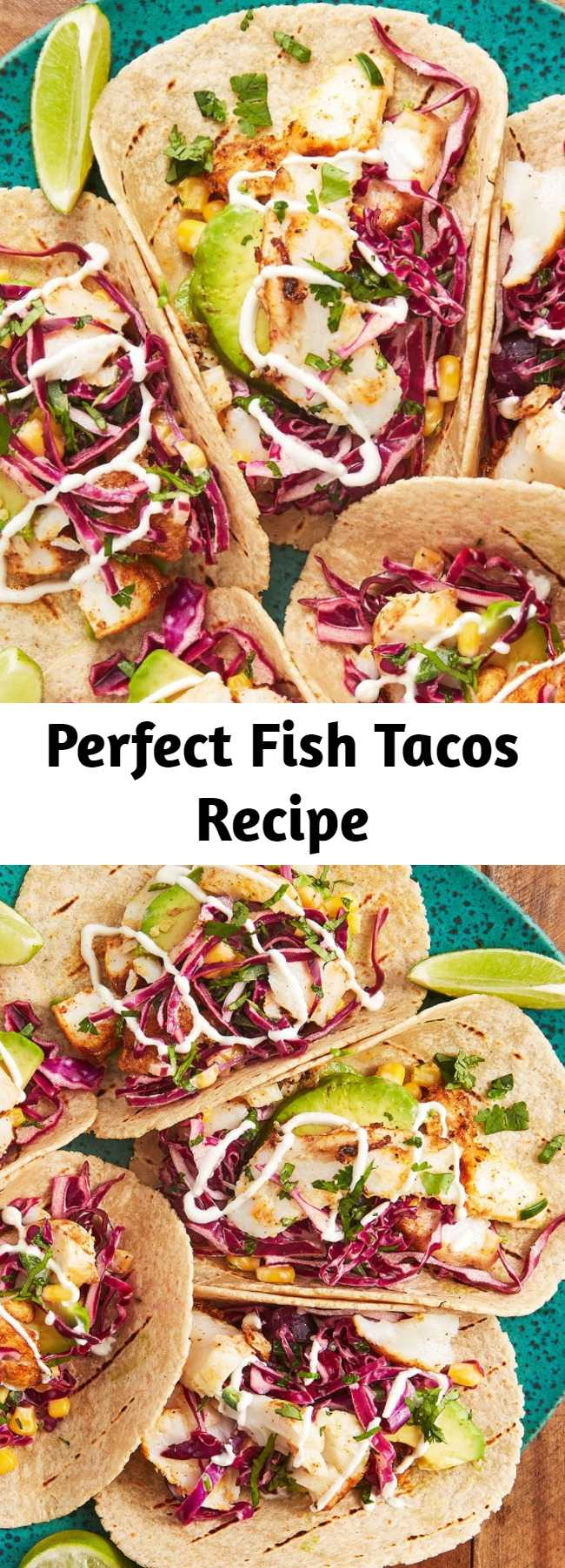 Perfect Fish Tacos Recipe - Love fish tacos? Well, these are the end-all be-all. People can be intimidated by cooking fish for tacos, but don't be! After marinating, the fish just needs to cook in a glug of olive oil for a few minutes per side in a skillet. Let the fish rest a few minutes before using a fork to flake it into pieces.