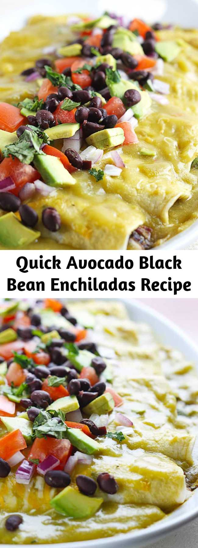 Quick Avocado Black Bean Enchiladas Recipe - Healthy and tasty enchiladas filled with seasoned black beans and creamy avocado slices, all covered in green chile enchilada sauce! Ready in 30 minutes!