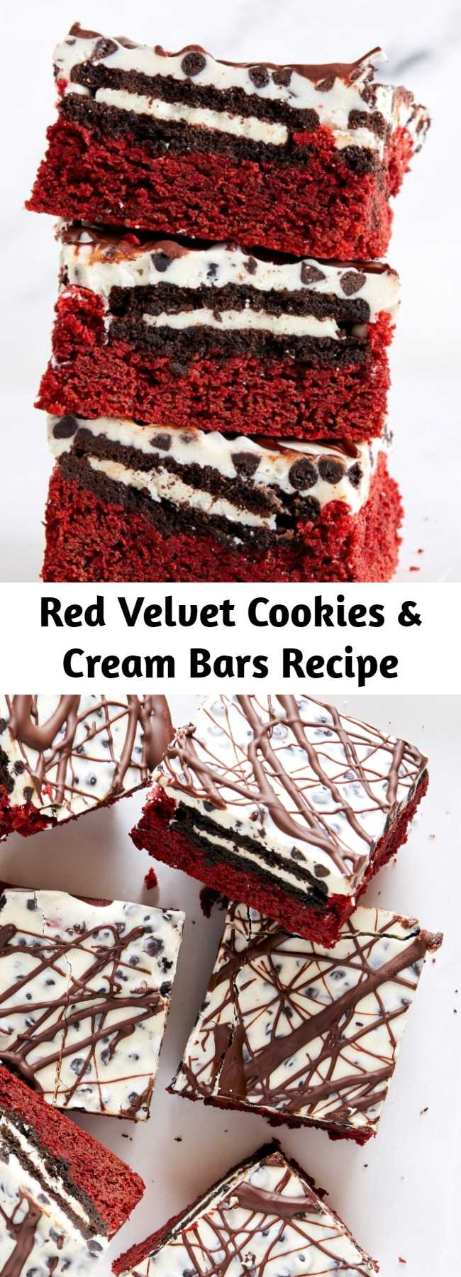 Red Velvet Cookies & Cream Bars Recipe - You can turn red velvet cake mix into decadent brownies with this recipe. For the cookies & cream lovers in your life, these bars are the ultimate.