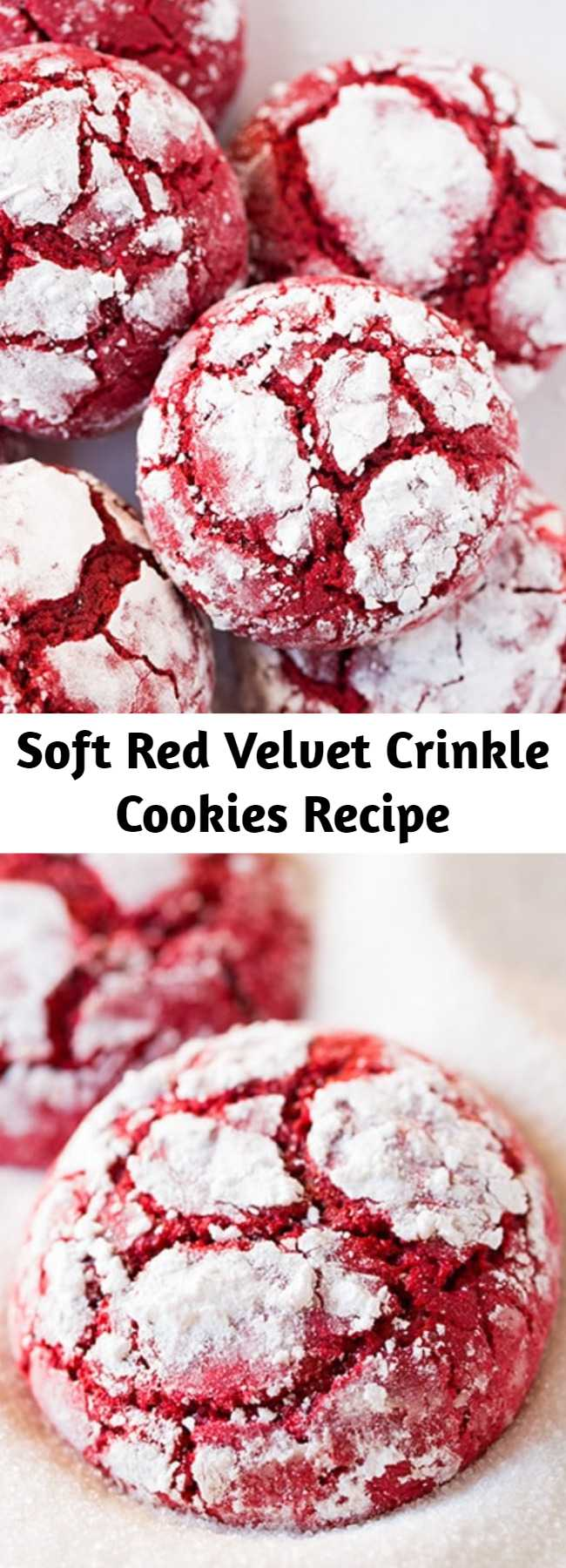 Soft Red Velvet Crinkle Cookies Recipe - Red Velvet Crinkle Cookies are a new perfect Christmas cookie! They're deliciously soft and have the classic flavors and stunning color of a red velvet cake but in individual cookie form. They're coated with sweet dusting of powdered sugar and once baked up end with pretty little crackles to impress.
